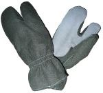 Перчатки трехпалые мод050, ткань арт 5632 болотный